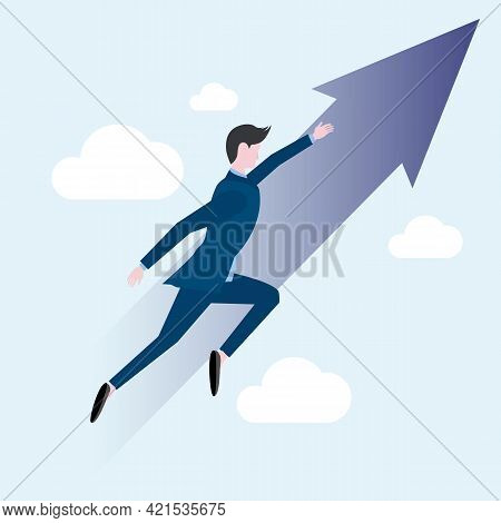 A Man Moves Upward Towards His Target Against The Background Of A Blue Sky, Clouds And An Upward Arr