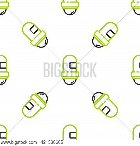 Line Antiperspirant Deodorant Roll Icon Isolated Seamless Pattern On White Background. Cosmetic For
