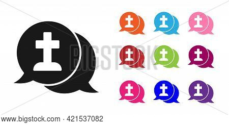 Black Man Graves Funeral Sorrow Icon Isolated On White Background. The Emotion Of Grief, Sadness, So