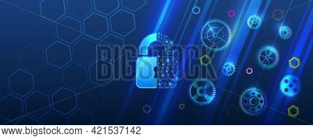 Cybersecurity Web Banner. Shield Icon With Gears On A Blue Background. Personal Data Protection Serv