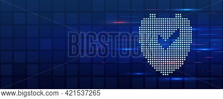 An Image Of A Shield Icon Made Of Dots. Data Protection On The Internet. Web Banner Cyber Security.