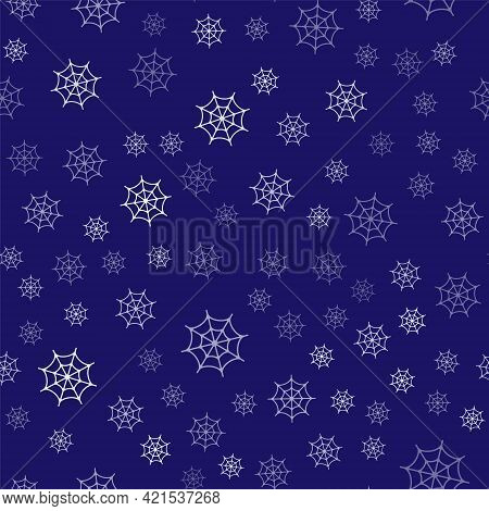 White Spider Web Icon Isolated Seamless Pattern On Blue Background. Cobweb Sign. Happy Halloween Par