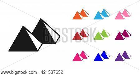 Black Egypt Pyramids Icon Isolated On White Background. Symbol Of Ancient Egypt. Set Icons Colorful.