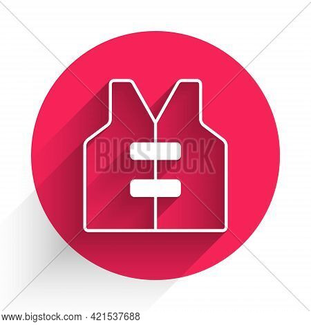 White Life Jacket Icon Isolated With Long Shadow. Life Vest Icon. Extreme Sport. Sport Equipment. Re
