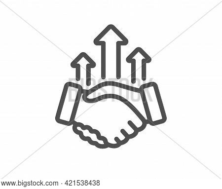 Deal Line Icon. Business Handshake Sign. Investment Growth Chart Symbol. Quality Design Element. Lin