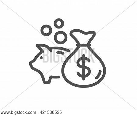 Loan Line Icon. Business Mortgage Sign. Piggy Bank Symbol. Quality Design Element. Linear Style Loan