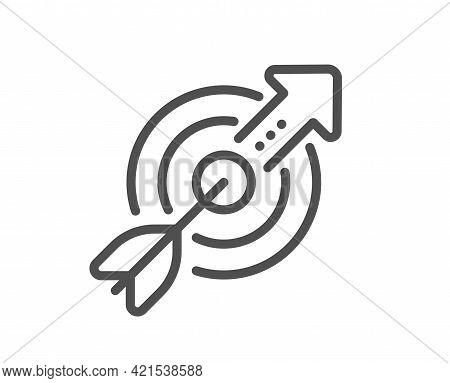 Target Aim Line Icon. Financial Target Sign. Business Objective Symbol. Quality Design Element. Line