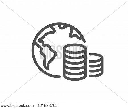 World Budget Line Icon. Internet Financial Trade Sign. Global Economy Symbol. Quality Design Element