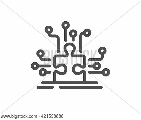 Puzzle With Many Options Line Icon. Decide Jigsaw Sign. Business Challenge Symbol. Quality Design El