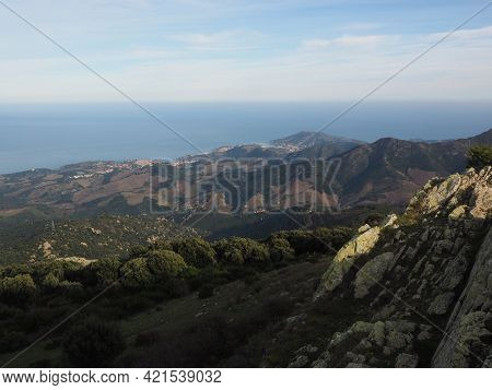Landscape Of The Catalan Coastline From The Massane Tower In South Of France