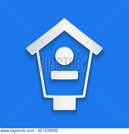 Paper Cut Bird House Icon Isolated On Blue Background. Nesting Box Birdhouse, Homemade Building For