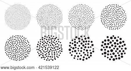 Dotwork Stipple Circles Brush Set. Stain Noise Vector Pattern. Black Grain Effect With Stipple Dots.