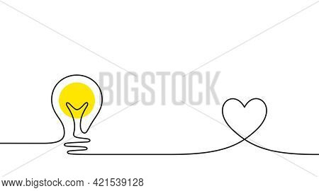 Continuous Line Idea Icon. One Light Bulb Silhouette. Electric Lightbulb With Heart Background. Idea