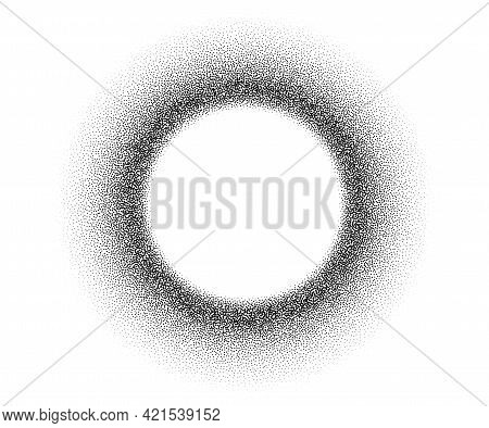 Dotwork Stain Pattern Vector Background. Sand Grain Effect. Black Noise Stipple Dots. Abstract Noise