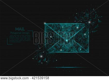 Abstract Isolated Image Of A Letter, Mail Or Message. Polygonal Illustration Looks Like Stars In The