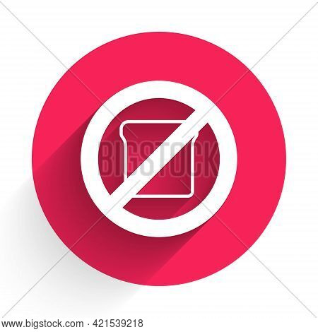 White Gluten Free Grain Icon Isolated White Background. No Wheat Sign. Food Intolerance Symbols. Red