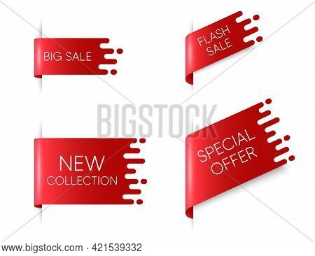 New Ribbon Banners. Big Flash Sale Red Sticker With Transition Pattern. New Collection Ribbon Tags.