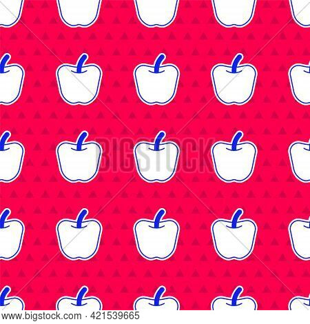 Blue Apple Icon Isolated Blue Background. Excess Weight. Healthy Diet Menu. Fitness Diet Apple. Vect