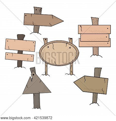 Wooden Signs Set. Wooden Signs Boards Set With Different Shapes, Vector Elements.