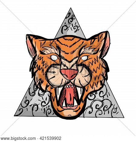 Tiger Head. Angry Tiger Face. The Grin Of A Tiger. Detailed Drawing Of A Tiger. Vector Illustraion E