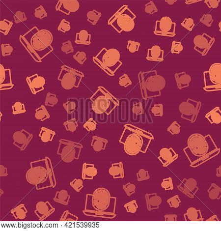 Brown Line Laptop With Fingerprint Icon Isolated Seamless Pattern On Red Background. Id App Icon. Id