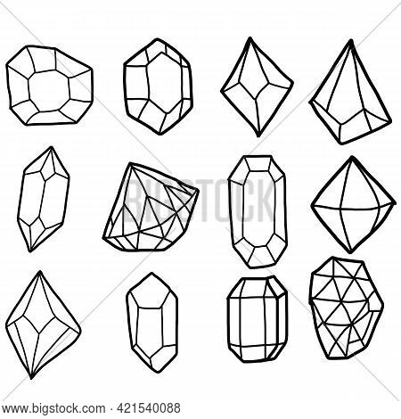 Diamond Set. Diamonds In A Flat Style. Abstract Black Diamond Collection Icons