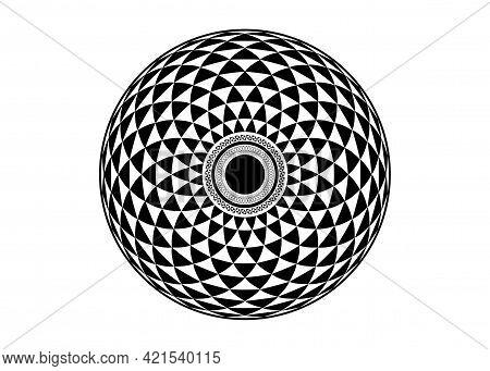 Torus Yantra, Hypnotic Eye Sacred Geometry Basic Element. Logo Circular Mathematical Ornament. A Cir