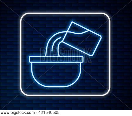 Glowing Neon Line Saucepan Icon Isolated On Brick Wall Background. Cooking Pot. Boil Or Stew Food Sy