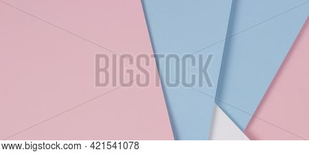 Abstract Geometric Pastel Color Paper Texture Background With Light Blue, Pink And White Colors