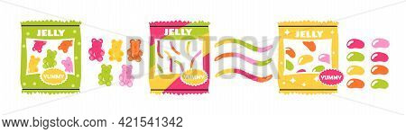Various Colorful Fruity And Tasty Sweets. Hand Drawn Junk Food. Flat Abstract Metaphor Outline Carto