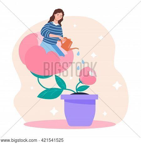 Woman In Flowerpot Watering Herself. Self Healing, Recovery, Assembling Herself, Mental Rehabilitati