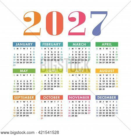 Calendar 2027. English Colorful Vector Square Wall Or Pocket Calender Template. Design. New Year. We
