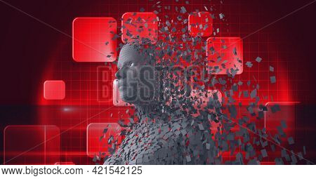 Composition of exploding human bust formed with grey particles and red screens background. global online identity and security concept digitally generated image.