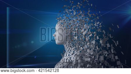 Composition of exploding human bust formed with grey particles and screen on blue background. global online identity and security concept digitally generated image.