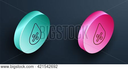 Isometric Line Water Drop Percentage Icon Isolated On Black Background. Humidity Analysis. Turquoise