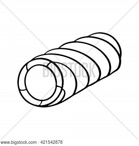 Outline Silhouette Of Ice Cream Roll With Icing And Frosting. Sketch Vector Illustration For Cafe Me