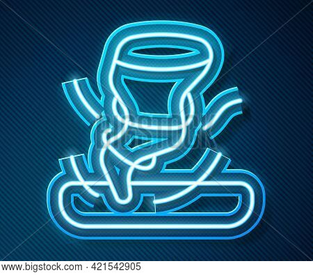 Glowing Neon Line Tornado Icon Isolated On Blue Background. Cyclone, Whirlwind, Storm Funnel, Hurric