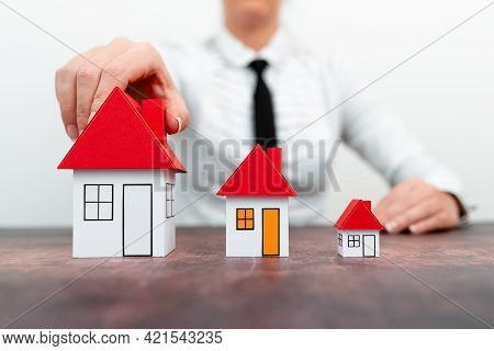 Upgrade Your House Represented By Lady In Outfit, Business Woman Presenting Plans For Home Change, D