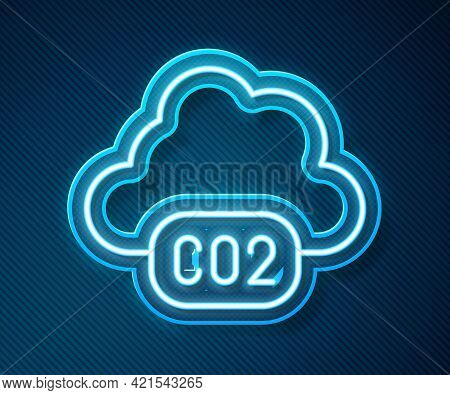 Glowing Neon Line Co2 Emissions In Cloud Icon Isolated On Blue Background. Carbon Dioxide Formula, S