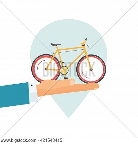 Rental Bicycle Icon Or Rent A Bike Place Pin Pointer And Giving Hand Vector Flat Cartoon Illustratio