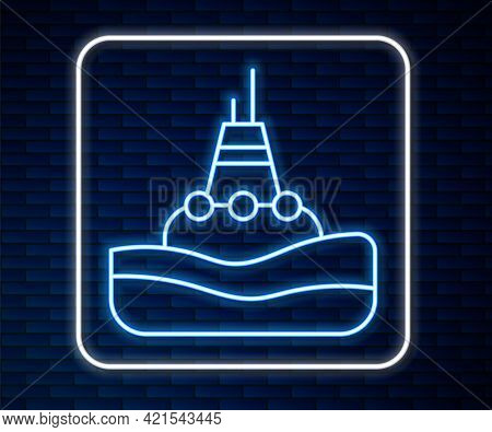 Glowing Neon Line Floating Buoy On The Sea Icon Isolated On Brick Wall Background. Vector