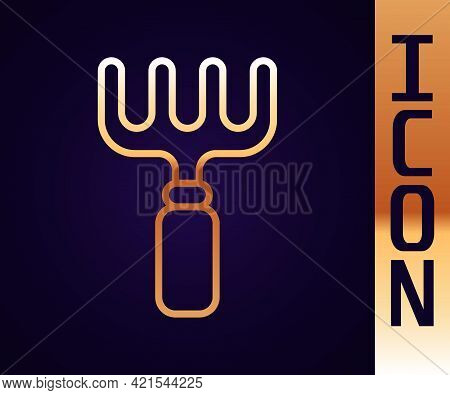 Gold Line Garden Rake Icon Isolated On Black Background. Tool For Horticulture, Agriculture, Farming