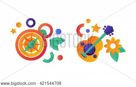 Camping Equipment Set, Compass And Acoustic Guitar Flat Vector Illustration