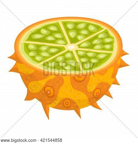 Fresh Half Cut Yellow Kiwano Fruit Isolated On White Background. Summer Fruits For Healthy Lifestyle