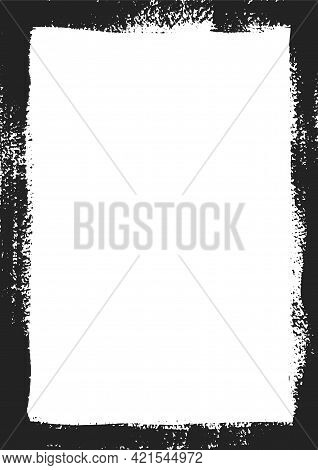 Grungy Frame. Rectangle For Image. Grunge Black Borders Isolated On The Background . Dirt Effect