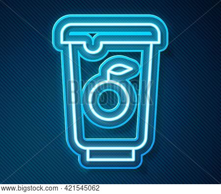 Glowing Neon Line Yogurt Container Icon Isolated On Blue Background. Yogurt In Plastic Cup. Vector