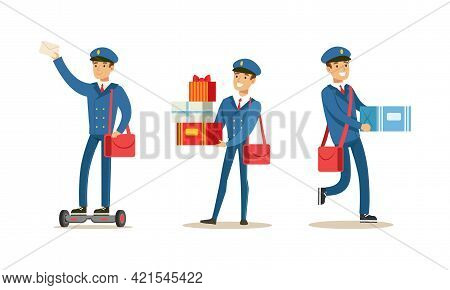 Postman Delivering Correspondence Set, Mailman Character In Blue Uniform And Cap Carrying Letters, N