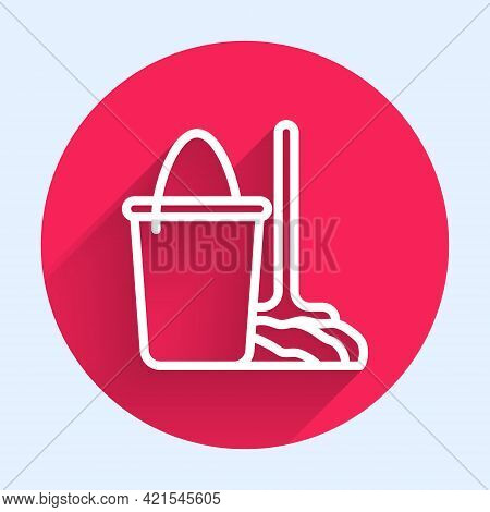 White Line Mop And Bucket Icon Isolated With Long Shadow. Cleaning Service Concept. Red Circle Butto