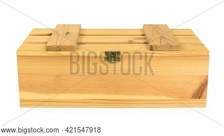 Closed Wooden Crate Isolated On White Background With Clipping Path