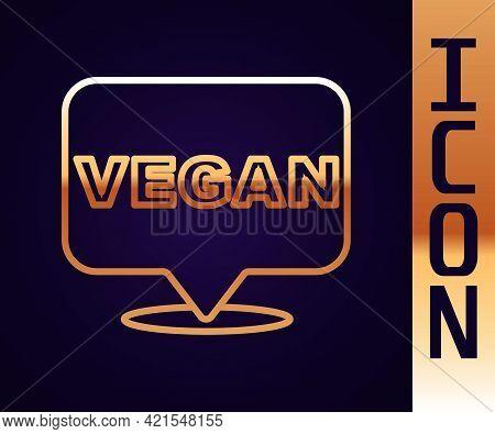 Gold Line Vegan Food Diet Icon Isolated Gold Line Background. Organic, Bio, Eco Symbol. Vegan, No Me